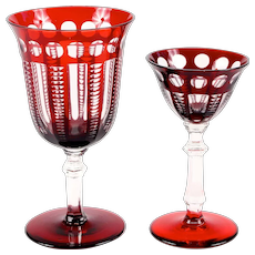 Vintage Red Cut-to-Clear Crystal Service for 10: Water and WIne