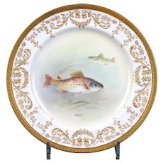 12 Royal Doulton Hand-Painted Gold Encrusted Fish Plates: signed C. Hart