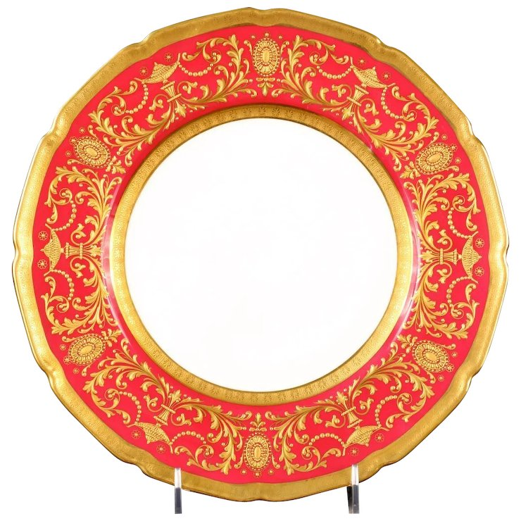 12 Antique Royal Doulton Red Heavily Gilded Dinner or Service Plates  sc 1 st  Ruby Lane & 12 Antique Royal Doulton Red Heavily Gilded Dinner or Service ...