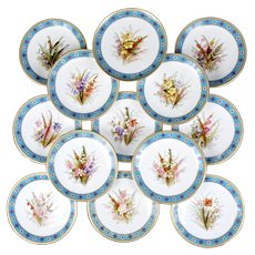 Royal Worcester Turquoise Hand-Painted Botanical Dessert Set, jeweled with gold beading