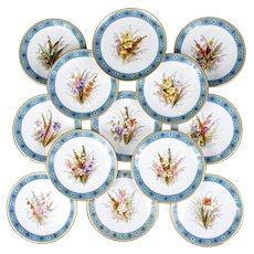 Royal Worcester Turquoise Hand-Painted Botanical Dessert Set, jeweled with gold beading