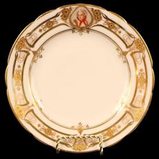 12 Antique Lamm Dresden Art Nouveau Small Portrait Plates, hand painted ladies and angels, gilded