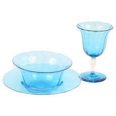 Steuben Blue Celeste Optic Rib Wine Set