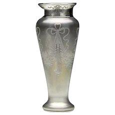 Steuben Sterling Silver-Rimmed Engraved Verre de Soie  Iridescent Vase