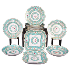 Sevres-Style Hand-Painted Green Service, 14 pieces