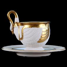 Gilded Dresden Swan Cup