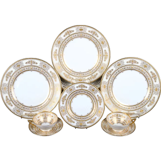 Large Service of Minton for Tiffany Ivory Gilded Plates