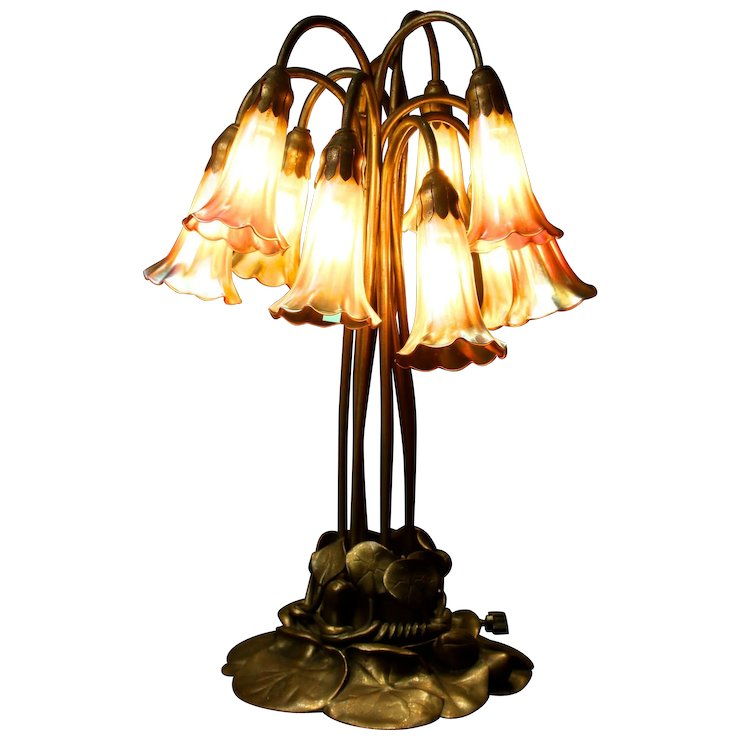 Tiffany Studios Ten Light Lily Table Lamp Bronze Finish Gilded