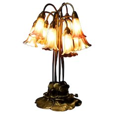 Tiffany Studios Ten-Light Lily Table Lamp, bronze finish