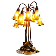Tiffany Studios Ten-Light Lily Table Lamp, gold finish