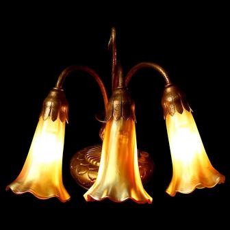 Tiffany Studios 3-Light Lily Piano Lamp