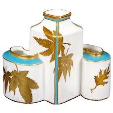 Royal Worcester 3-Welled Gilded Vase
