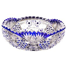Val Saint-Lambert Cut Crystal Cobalt Small Blue Bowl
