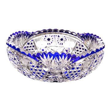 Val Saint-Lambert Cut Crystal Cobalt Small Blue Bowl