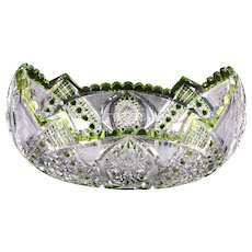 Val Saint-Lambert Cut Crystal Green Bowl