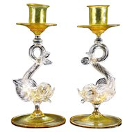 Pair of Venetian Dolphin Candlesticks