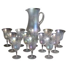 Set of 13 Steuben Verre de Soie Water Goblets with Pitcher ...