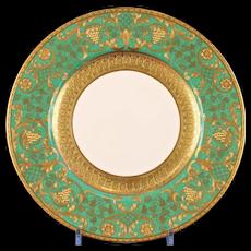 10 Wedgwood Vintage Green Gilded Dinner Plates
