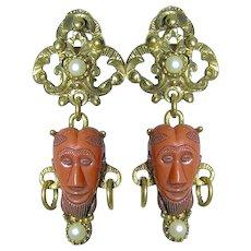 Selro Ornate Orange Double Mask Plastic Imitation Pearl Dangle Clip Earrings