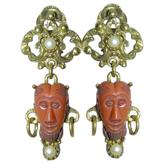 Selro Ornate Orange Double Mask Plastic Imitation Pearl Dangle Clip Earrings