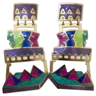 Edgar Berebi Modernist Egyptian Multi Colored Statement Dangle Pierced Earrings