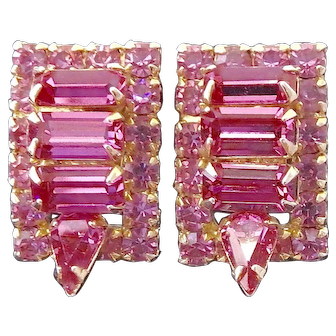 Saturated Fuchsia Pink Rhinestone w Stacked Stone and Surround Design Clip Earrings