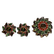 Judy Lee Autumn Leaves Colors Rhinestone Domed Statement Brooch and Earrings