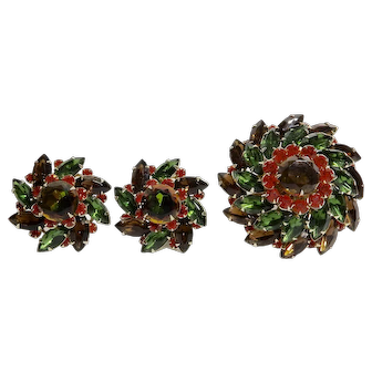 Judy Lee Autumn Colors Rhinestone Domed Flower Statement Brooch and Earrings