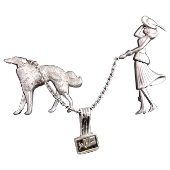 Coro Borzoi - Russian Wolf Hound Dog w Lady Connected Brooches w Original Tag