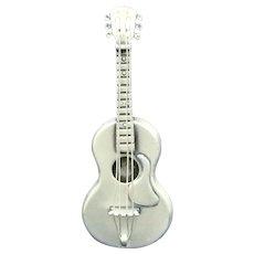 Beau Sterling Silver Acoustic Guitar w Taylor Pick Guard Brooch Mint
