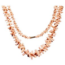 Salmon and White Branch Coral Long Graduated Necklace