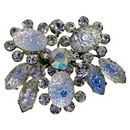 Lilac & Blue Bicolor Pressed Glass with Lilac Rhinestone Brooch
