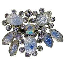 Lilac & Blue Bicolor Pressed Glass with Lilac Rhinestone Brooch