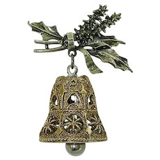 ART Christmas Filigree Bell w Holly Sprig Pin Dangle Brooch