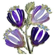 Winecup Flower w Purple and Violet Plastic Petals Rhinestone Brooch