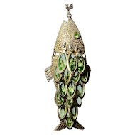 Articulated Fish with Green Rhinestone Layered Scales Pendant w Chain