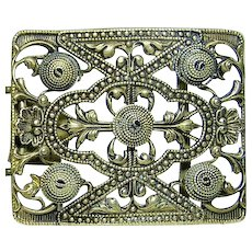 Antique Czechoslovakia Filigree Scrolls Wrapped Wire Domes Belt Buckle