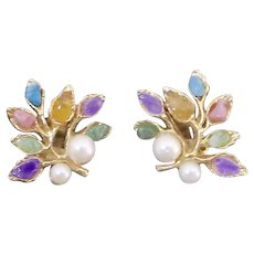 Swoboda Cultured Pearl Semi Precious Stone Floral Clip Earrings