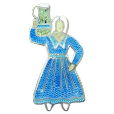 Mexico Sterling Silver enamel lady figure with jug on shoulder brooch.