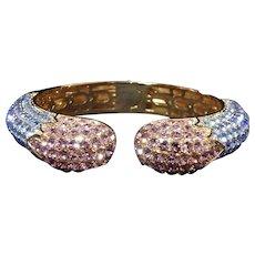 Joan Boyce Perfect Kissable Pave Pastel Violet & Blue Crystal Hinged Bracelet
