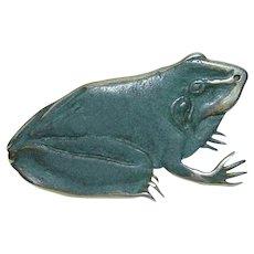 Harlan Coonsis Zuni ZR 1990 Green Enamel Frog Brooch Pin