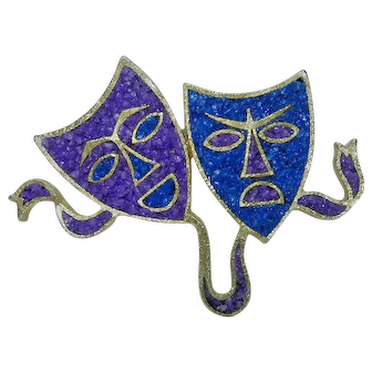 Tortolani Theater Drama Comedy and Tragedy Masks w Purple & Blue Inlay Brooch
