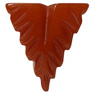 Bakelite Art Deco Period Rusty Red Carved Shield Dress Clip Mint Condition