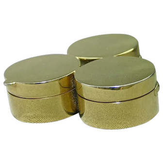 Italy Three Compartment Cluster Polished Gold Plate Enamel Interior Pill Box