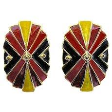 Bob Mackie Radiating Starburst Red Yellow & Black Enamel Earrings