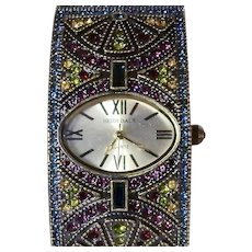 Heidi Daus Baroque Once Upon a Time Pave Crystal Cuff Watch - New Battery