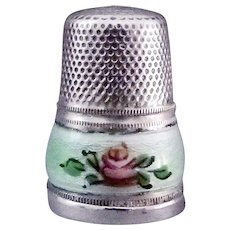 Antique Sterling Silver Guilloche Enamel Sewing Thimble - Size 6
