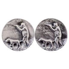Fenwick & Sailors Sterling Silver Hunter w Pointer Dog Relief Cufflinks