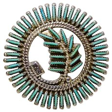 J S Bellson Zuni Needle Point Turquoise Tree Branch in Circle Surround Brooch