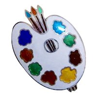 50% Off Sterling Silver Jewel Color Artists Palette Brooch